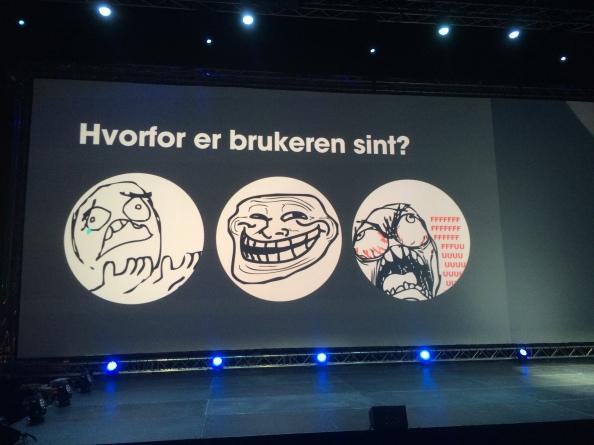 Bilde av slide fra foredrag på Webdagene 2014. Illustrasjon av tre ulike nettroll.